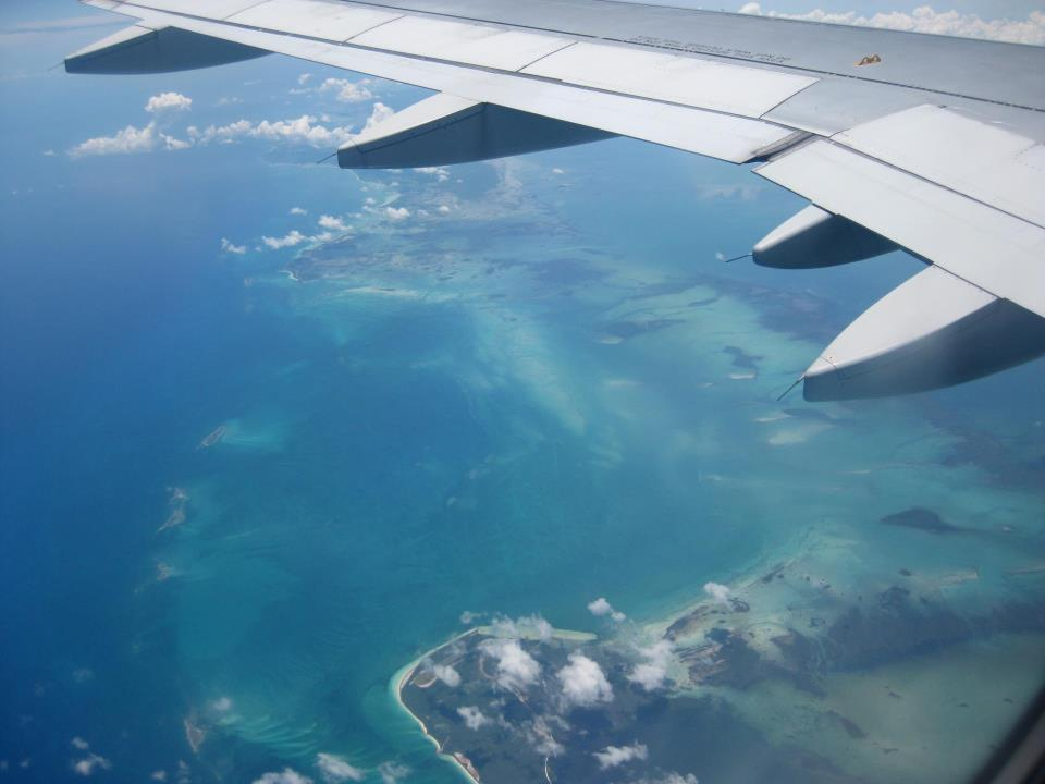 View out of aircraft window over the Caribbean